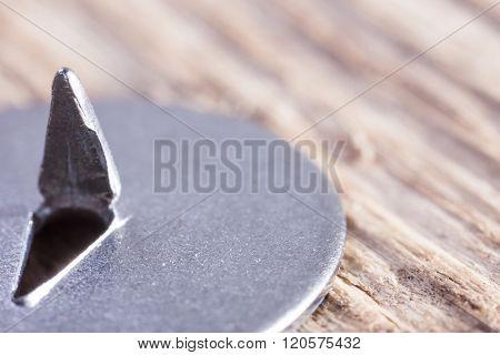 extra macro image of round metal pushpin