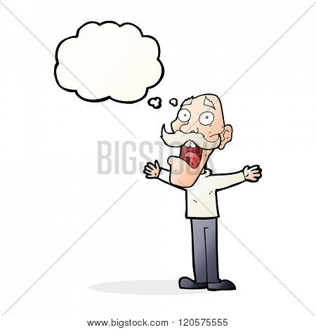 cartoon stressed old man with thought bubble
