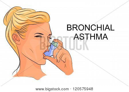 illustration of women suffering from bronchial asthma with an inhaler