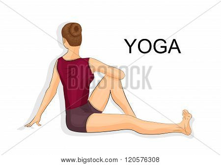 illustration of woman doing yoga. stretching the spine