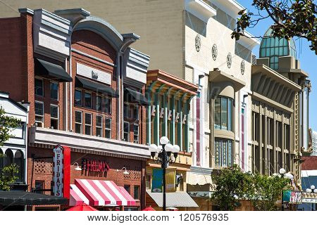 San Diego, U.S.A. - June 2, 2011: California, the traditional buildings of the Gas Lamp quarter.