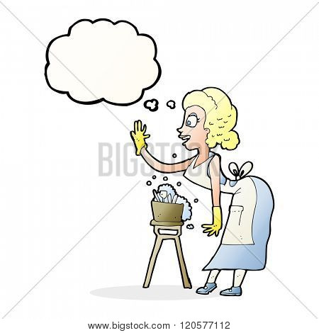 cartoon housewife washing up with thought bubble