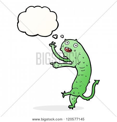 cartoon gross little monster with thought bubble