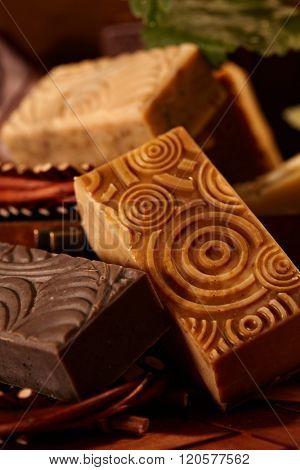 Closeup photo of natural soap bars.