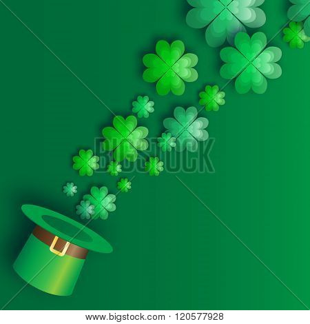 Green St. Patrick's Day with hat and clover.