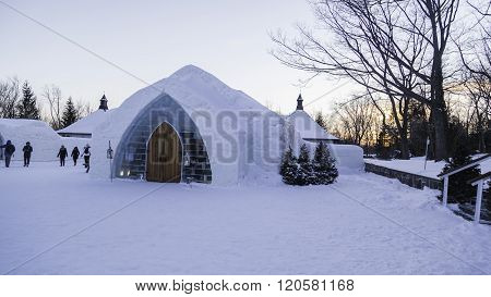 Peoples visiting ice hotel in Quebec, Canada.