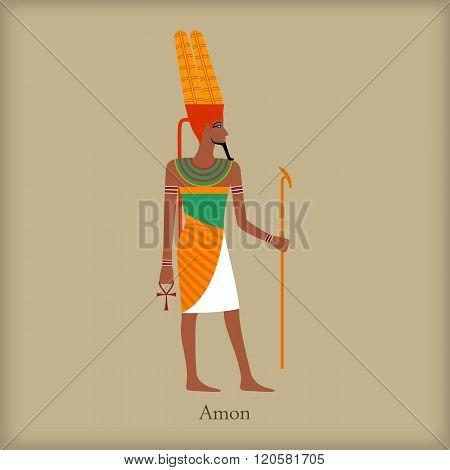 Amon, God of the wind icon, flat style