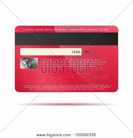 Red credit card back icon, realistic style