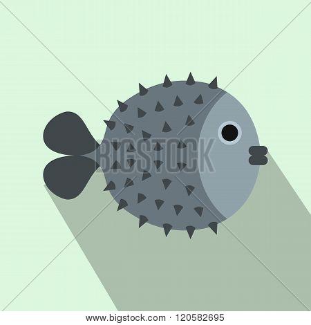 Fugu sharp fish icon, flat style