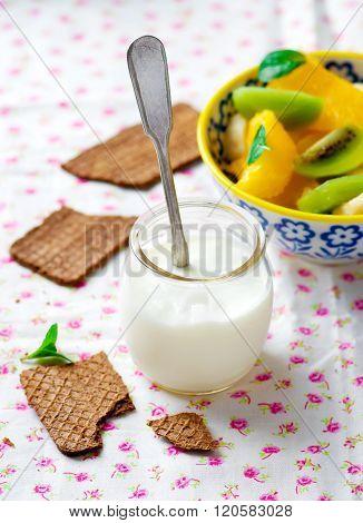 Natural Yogurt With Fruit Salad And Crisp Bread.