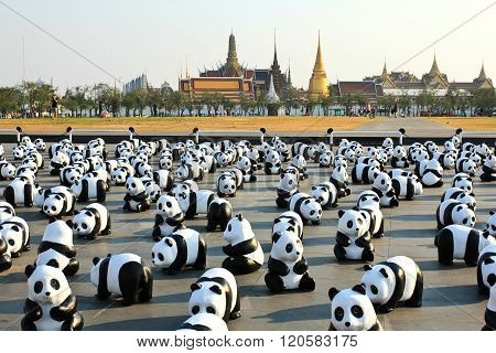 Bangkok,thailand - March 4, 2016 : 1600 Pandas+ Th, Paper Mache Pandas To Represent 1,600 Pandas And