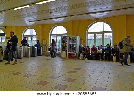 Tver, Russia - February 27. 2016. Railway station Tverskaya in October RZD