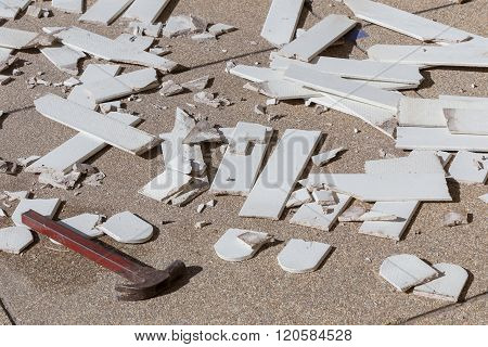 Pile Of Broken Damaged Wood Plank