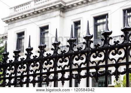 Spikes On Black Wrought Iron Fence