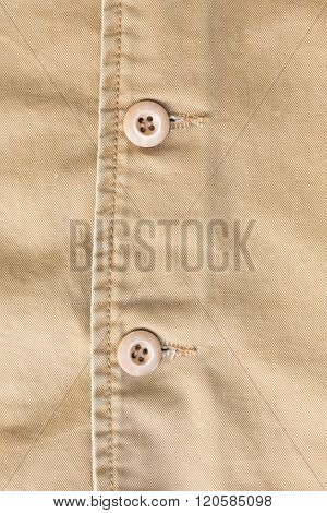 Brown Shirt Background With Stitch Seam Textile And Botton