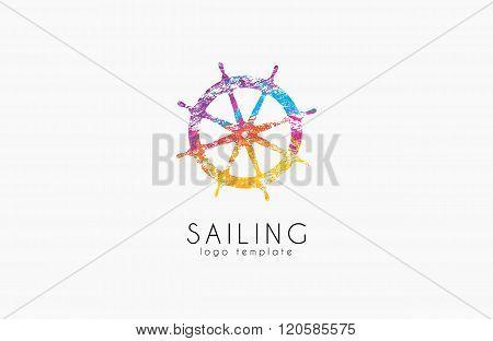 Helm logo. Sailing logo design. Color logo design. Helm in grunge style.