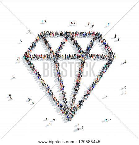 people  shape  diamond jewel