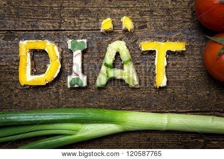 Letters Of Vegetable Canapes Build The Word Diät