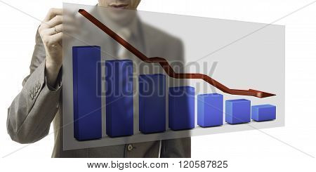 Business Concept. Businessman Drawing A Graph Down