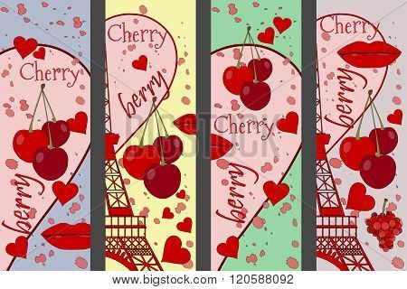 Collage From The Eiffel Tower, A Cherry And A Kiss. Set Romantic Collages. Paris. France. Contempora