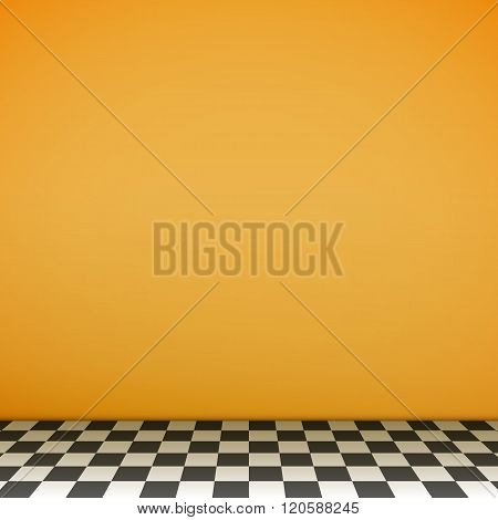 Yellow Empty Scene With Checkerboard Floor