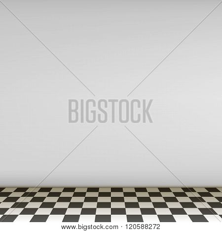 Grey Empty Scene With Checkerboard Floor
