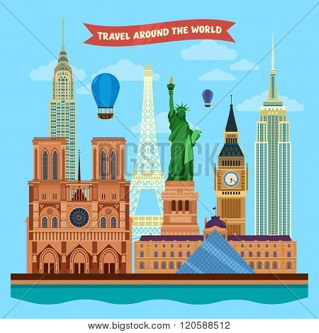 Traveling Around The World Banner With Famous Architectural Buildings From Europe And Usa