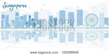 Outline Singapore skyline with blue buildings and reflections. Vector illustration. Business travel and tourism concept with place for text. Image for presentation, banner, placard and web site.