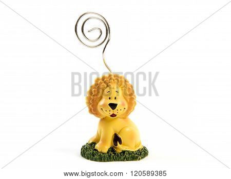 lion memo clip paper holder isolated on white