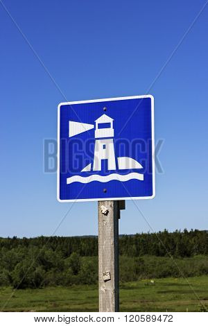 View on Lighthouse sign in New Brunswick Canada