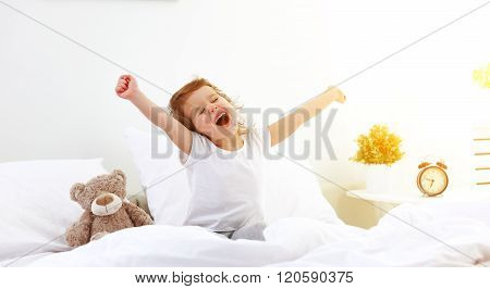 Morning Awakening Child Girl In Bed