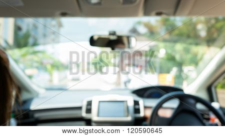 Abstract Blur Driving On Road Background, Image View Inside Car