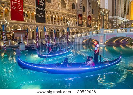 LAS VEGAS - OCT 23 : The Venetian hotel and replica of a Grand canal in Las Vegas on October 23 2015. With more than 4000 suites it`s one of the most famous hotels in the world