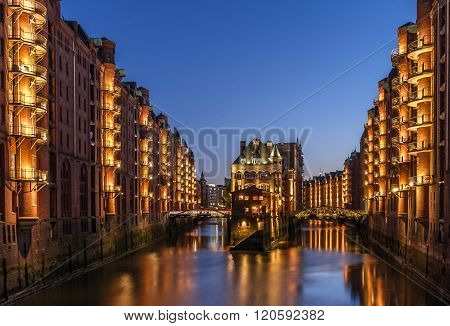 historic old town in hamburg, germany. this is the water castle.