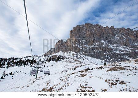 Ski lift to Saslong skiing area, Dolomiti, Val Gardena, Italy