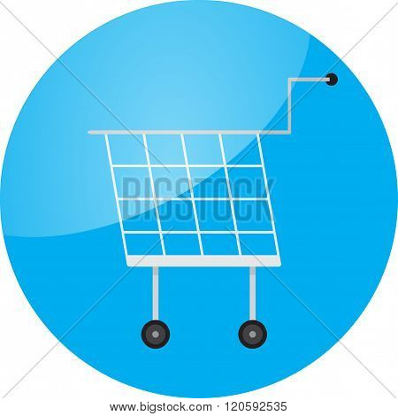 Trolley Icon Round Glossy