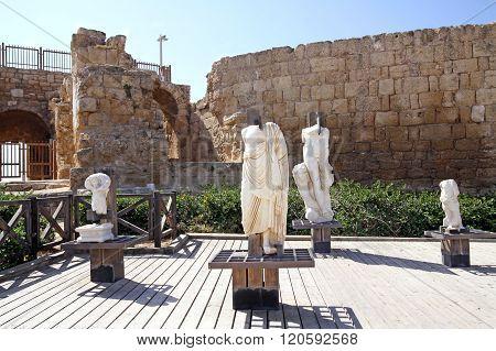 Fragments Of Marble Sculptures  In Caesarea