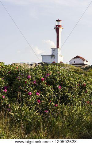 Cape Forchu Lighthouse in Nova Scotia in Canada