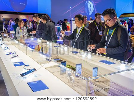 LAS VEGAS - JAN 08 : The Sony booth at the CES show held in Las Vegas on January 08 2016 CES is the world's leading consumer-electronics show.