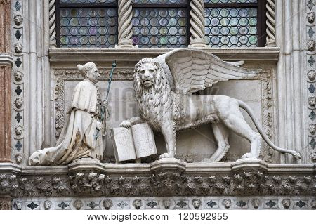 Lion Sculpture With Book