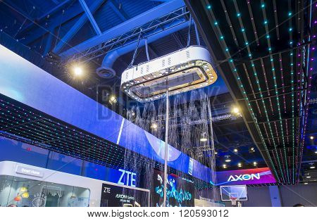 LAS VEGAS - JAN 06 : The ZTE booth at the CES show held in Las Vegas on January 06 2016 CES is the world's leading consumer-electronics show.