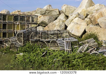 Lobster pots used in lobster fishing in Canada