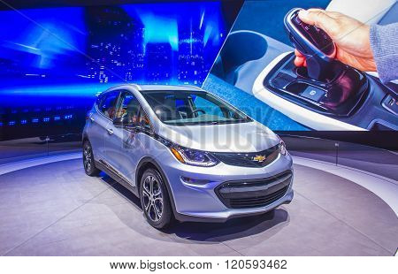LAS VEGAS - JAN 08 : Chevrolet Bolt at the CES Show in Las Vegas Navada on January 08 2016. CES is the world's leading consumer-electronics show.
