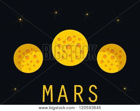 The Planet Mars. Phases Of Mars. Shadow. Vector Illustration.