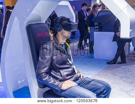 LAS VEGAS - JAN 08 : Virtual reality demonstration at the Denso booth at the CES Show in Las Vegas Navada on January 08 2016. CES is the world's leading consumer-electronics show.