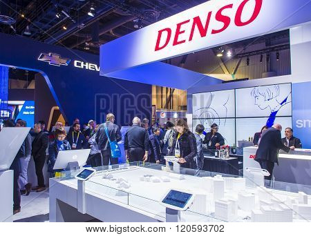 LAS VEGAS - JAN 08 : The Denso booth at the CES Show in Las Vegas Navada on January 08 2016. CES is the world's leading consumer-electronics show.