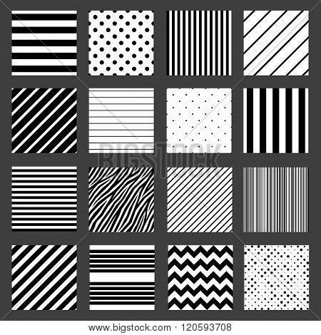 Unusual black white striped pattern set