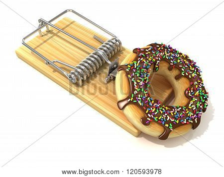 Chocolate doughnut with sprinkles like bait in wooden mousetrap. 3D rendering illustration isolated on white background.