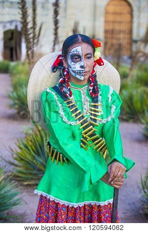 OAXACA MEXICO - NOV 02 : Unidentified participant on a carnival of the Day of the Dead in Oaxaca Mexico on November 02 2015. The Day of the Dead is one of the most popular holidays in Mexico
