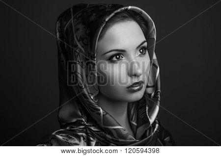 Women Beauty handkerchief in studio shot  black and white